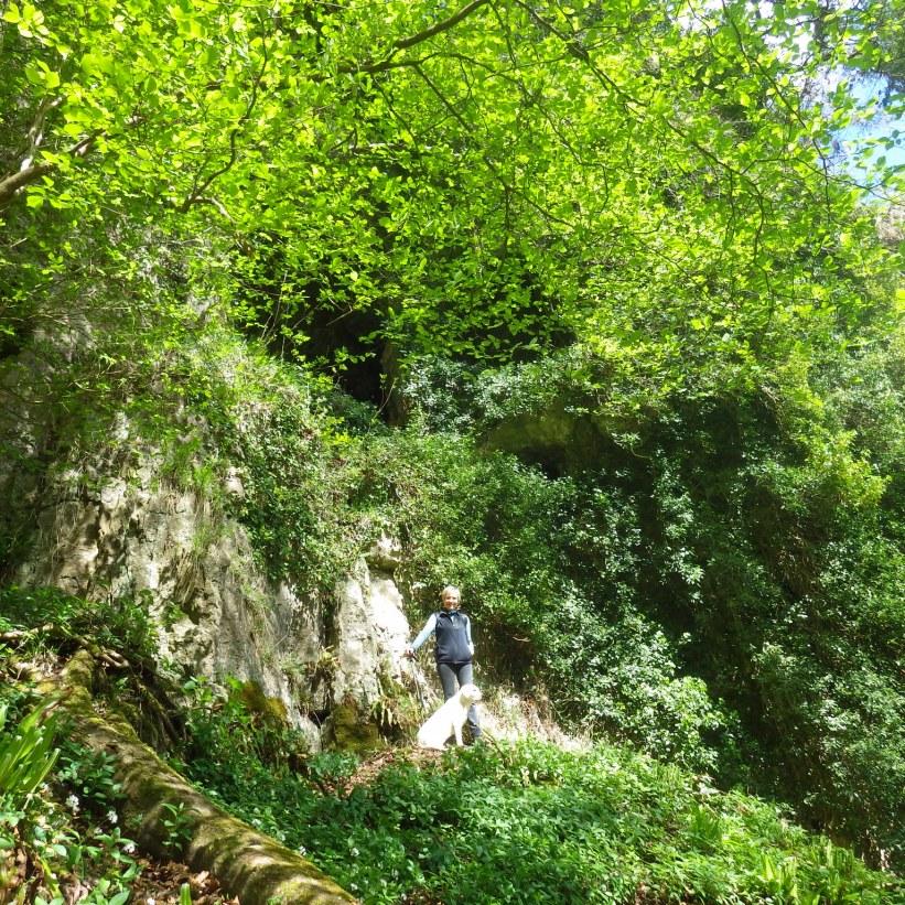 Viki below Merlin's cave.